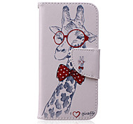 Cute Giraffe Pattern Cards Purse Money PU Phone Case for iPhone 6/6S