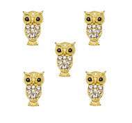 10pcs Cute Owl with Clear Rhinestone 3D Gold Nail Art Alloy 9mm x15mm