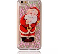 Christmas Old People Pattern Transparent 3D Love Stereoscopic Quicksand PC Material Phone Case for iPhone 6Plus/6SPlus