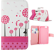 Pink Dandelion Pattern PU Leather Full Body Cover with Stand for iPhone 5/iPhone 5s