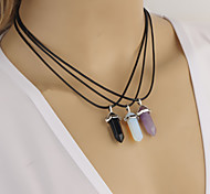 Women's Simple Crystal Glass Diamond Pendant Leather Chain Short Necklace