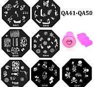 - Finger / Zehe - Andere Dekorationen - Metall - 10pcs nail plates+ 1set nail stamper and scraper Stück - 6.0cm for dia cm