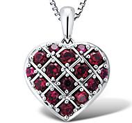 sterling zilver platina-verguld met creëerde ruby klassieke hartvorm vrouwen hanger met zilveren box ketting