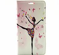 padrão de dança da menina de couro pu capa de corpo inteiro com suporte para HTC One a9