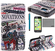 LEXY® Elephant Band Pattern PU Full Body Leather Case with Screen Protector and Stylus for iPhone 5C
