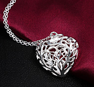 "Hot Sale Hollow ""Heart"" Sterling Silver  Statement Necklaces Party For Woman&Lady"