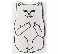 White Cat Pattern PU Leather Case with Stand and Card Holder for iPad Mini 4