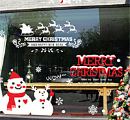 Merry Christmas Show Window Decoration Santa Snowman PVC Glass Static Sticker