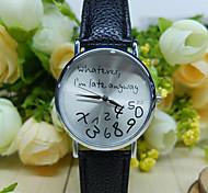 o que quer que eu estou atrasado de qualquer maneira relógio com pulseira de couro / relógio unisex, quartzo relógio de pulso analógico
