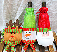 2015 New Christmas  Decorations Navidad Santa Claus Red Bottle Sets Adornos Navidad Wine Champagne Bottle Sleeve