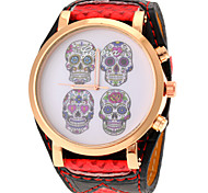 Unisex Punk Skull Pattern PU Band Quartz Watch Wrist Watch Cool Watch Unique Watch
