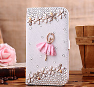 Handmade Diamond Ballet Girl PU Leather Full Body Case with Kickstand for Samsung Galaxy S3/S4/S5/S5 mini/S6/S6 Edge