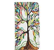 árvore de caso de corpo inteiro padrão de vida de couro pu com slot para cartão para iphone 6s 6 plus / iphone mais