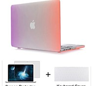 "3 in 1 Rainbow Colorful Rubberized Hard Case for MacBook Pro 13""/15""+Keyboard Cover+Screen protector"