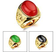 Agate Stone Men 24 K Gold Ring