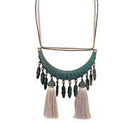European Style Retro Fashion Leaves Tassel Necklace