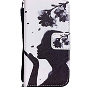 HZBYC®Dandelion Girl Pattern PU Material Card Lanyard Case for iPhone 5C