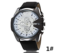 Men's Casual j Quartz Watch Fake Three Large Dial Leather Strap Watch Sports Series Wrist Watch Cool Watch Unique Watch