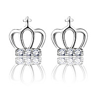 Stud Earrings Imitation Diamond Silver Sterling Silver Crystal Simulated Diamond Fashion Crown Silver Jewelry Wedding Party Daily 2pcs