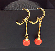 Women's fashion red pearl earring