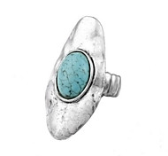 Vintage Look Antique Silver Plated Oval Turquoise Stone Adjustable Free Size Ring(1PC)