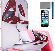 LEXY® Red Lips Pattern PU Full Body Leather Case with Screen Protector and Stylus for iPhone 5C