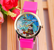 Woman's Watches Colorful Christmas Style Ladies Silicone Strap Quartz Watch