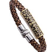 Men's 15mm Cow Leather Brown Cross Titanium Steel  Magnet Buckle Snake Weave Bracelet