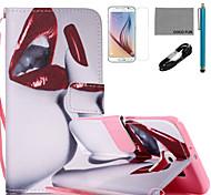 Coco fun® padrão lábios vermelho estojo de couro pu com cabo usb v8, flim, caneta e stand para Samsung Galaxy S6