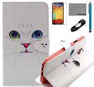 coco fun® bianco modello del gatto pu custodia in pelle con il cavo usb v8, flim e lo stilo per Samsung Galaxy Note 3
