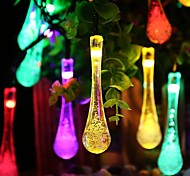King Ro solar 19.68ft 30LED Waterdrop Christmas Parties Decoration Light Outdoor Waterproof  String Lights