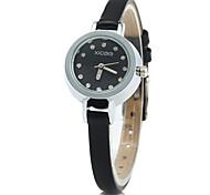 xicoo 488 fino couro banda relógio de quartzo para mulheres