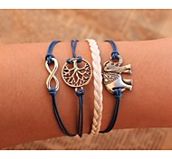 Unisex Multilayer Leather Bracelet  Elephant & life Tree