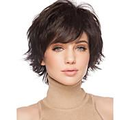 pleine perruque brun foncé pour les femmes bon marché perruques courtes bouclés fausse cheveux synthétiques courtes perruques de femmes