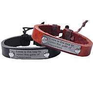 Men's Leather Weave Adjustable Bracelet with Love is the key to Happiness