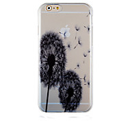 Dandelion Black Pattern Transparent Phone Case Back Cover Case for iPhone6/6S