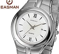 classique cadran en saphir blanc forme ronde civile en acier inoxydable montre-bracelet à quartz pour hommes easman