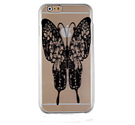 Black Butterfly Pattern Transparent Phone Case Back Cover Case for iPhone6/6S