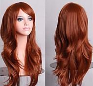 perruques cosplay bon marché perruques synthétiques pleins 70 cm beauté brune perruque