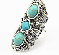 Vintage Look Antique Silver Plated Handmake Turquoise Stone Adjustable Free Size Ring(1PC)