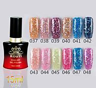 1PCS Sequins UV Color Gel Nail Polish No.37-48 Soak-off(15ml,Assorted Colors)