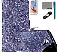 Coco fun® padrão retro padrão de capa de couro pu com cabo usb v8, flim, caneta e stand para Samsung Galaxy S6 borda