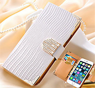 Wallet with Card Slot Crystal Bling PU Leather Rhinestone Case for iPhone 6s 6 Plus