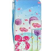 The New Color Dandelion Pattern Lanyard PU Leather Material Flip Card Cell Phone Case for iPhone 5 /5S