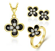 Fashion Diamond Flower Jewelry Gold-Plating Three-Piece(Gold,Rose Gold,White)(3pcs)