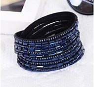 Women handmade velvet bracelet bling rhinestone wrap PU leather bracelet hot drill bangle
