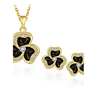 Fashion Diamond Clover Jewelry Gold-Plating Twinset(Gold,Rose Gold,White)(2pcs)