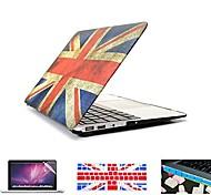 """4 em 1 bandeira retro completa cobertura de plástico rígido + tampa do teclado + protetor de tela + plugue poeira para macbook pro / 13 """"/"""