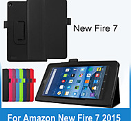 Folio Slim Fit Premium PU Leather Case Cover For Amazon New Fire 7 2015 Tablet (Assorted Colors)
