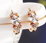 European Style Clean Zircon Shining Star Stud Earring